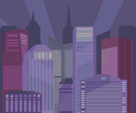 City buildings at night  illustration Royalty Free Stock Photo