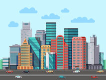 City buildings panorama. Urban architecture vector cityscape background. Architecture buildings cityscape, illustration of urban buisness building district Stock Photos