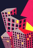 City Buildings Poster Illustration Colourful. Royalty Free Stock Photo