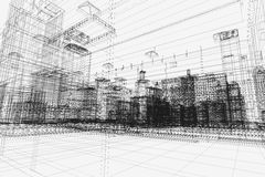 City buildings project, 3d wireframe print, urban plan. Architecture Royalty Free Stock Photo