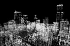 City buildings project, 3d wireframe print, urban plan. Architecture Stock Photos