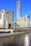 City buildings on river. Skyscraper city buildings on the yarra river waterfront in melbourne australia Stock Image