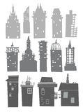 City buildings set Stock Photos