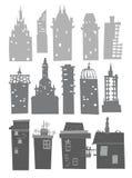 City buildings set. Building silhouettes Stock Photos