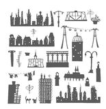 City buildings set. Design elements Stock Images