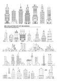 City buildings set, Sketch Royalty Free Stock Photos