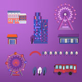 01 City buildings set. Vector illustration of City buildings set houses Royalty Free Stock Photo