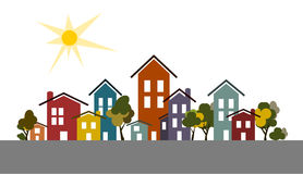 City houses with trees and shiny sun. Vector illustration of city houses and trees in different colors, white background with shiny sun Royalty Free Stock Images