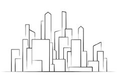 City,  Buildings silhouettes vector Royalty Free Stock Photo