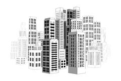 City with buildings and skyscrapers. Royalty Free Stock Images
