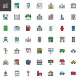City buildings and transportation filled outline icons set. Line vector symbol collection, linear colorful pictogram pack. Signs, logo illustration, Set Stock Photo