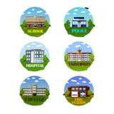 City buildings vector icon set in flat style. Design elements and emblems.  Stock Image