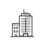 City buildings vector illustration. Icon of a building for a real estate agency. Symbol of a modern urban building. City building vector icon Royalty Free Stock Photo