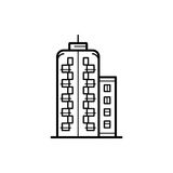 City buildings vector illustration. Icon of a building for a real estate agency. Symbol of a modern urban building. City building vector icon Royalty Free Stock Image