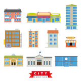 City Buildings Vector Set Stock Photo
