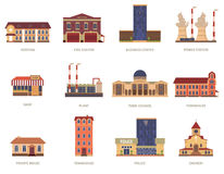 City buildings vintage icons set. Vintage city buildings of hospital fire station and downtown business center icons set abstract isolated vector illustration Royalty Free Stock Images