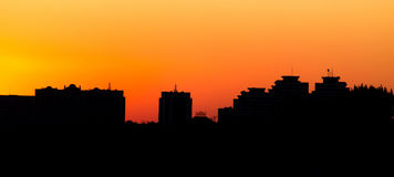 City buildings on a yellow sunset as a background.  Royalty Free Stock Photography
