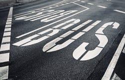 City bulevard with traffic designation. Close up of a city boulevard asphalt with traffic designation Stock Images