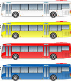City bus. White  yellow red and blue theme Stock Images