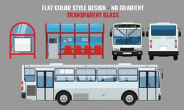 City Bus and Bus stop, side front and back view. Flat color style vector illustration. City Bus and Bus stop, side front and back view. Solid and Flat color royalty free illustration