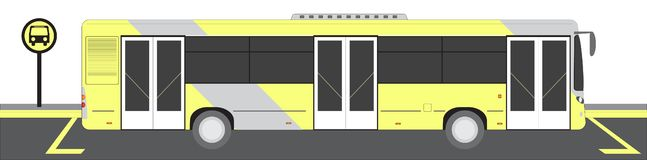 City bus on Bus stop vector illustration stock images