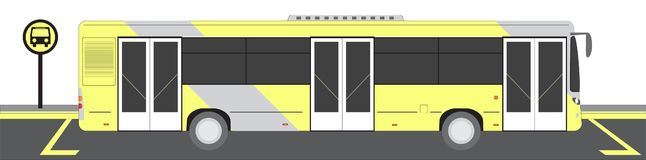 City bus on Bus stop vector illustration stock image