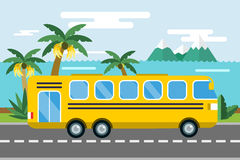 City bus cartoon style vector icon silhouette Stock Images