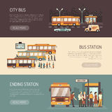 City Bus Flat Horizontal Banners Set Stock Images