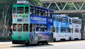 City bus on Hongkong street. Featured city bus on Hongkong street, as traffic and transportation vehicle, shown as city view and transportation, and people Royalty Free Stock Photos