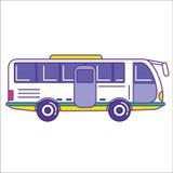City bus icon in trendy cartoon flat line style. Mass transit ve. Hicle symbol. Autobus as public transportation element. Vector illustration Royalty Free Stock Image