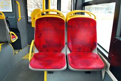 City bus. Interior of empty modern european city bus Stock Photos