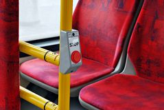 City bus. Interior of empty modern european city bus Royalty Free Stock Image