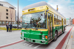 City bus and loop bus in Ise city in Mie prefecture stock photography