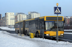 City bus Mercedes at the winter  evening  stop Royalty Free Stock Photos