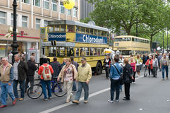 City Bus Omnibus Wagen 787 and Wagen 700. BERLIN - MAY 28: City Bus Omnibus Wagen 787 (1928) and the Omnibus Wagen 700 (1951), the exhibition 125 car history Stock Image