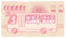 City bus with people on the street. Vector illustration Royalty Free Stock Photo