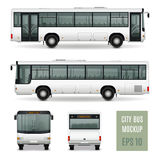 City Bus Realistic Advertising Template. Modern city bus realistic advertising template side view front and rear on white background isolated vector illustration Stock Photography
