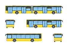 City bus set. Vector flat style illustration. Public transport concept. Modern simplicity design. Isolated on white background Royalty Free Stock Images