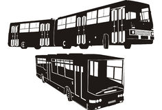 City bus silhouette set Stock Image