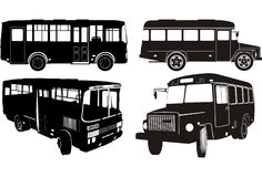 City bus silhouette set Royalty Free Stock Images