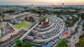 City Bus-stand Majestic, Kempegowda Metro Station stock image