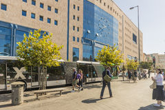 City bus station Streets and houses in Jerusalem Royalty Free Stock Photography