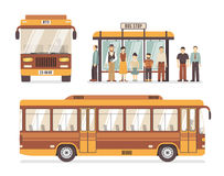 City Bus Stop Flat Icons royalty free illustration