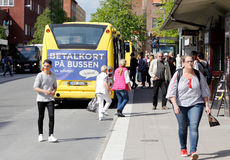 City bus at stop Royalty Free Stock Photos