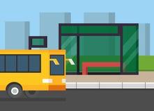 City bus stop. Public transport on the road. Flat design vector illustration. Stock Photo