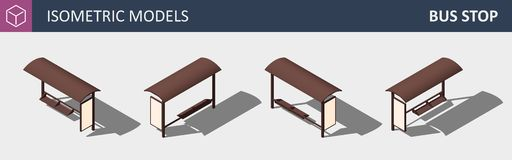 City Bus Stop - Vector Isometric Flat 3D Concept. stock illustration