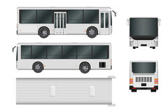 City bus template. Passenger transport all sides view from top, side, back and front. Vector illustration eps 10 isolated on white. Background Stock Images