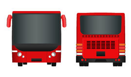 City bus template. Passenger transport sides view from back and front. Vector illustration eps 10 isolated on white background. Stock Images
