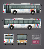 City Bus Template In Realistic Style. City bus grey template in realistic style with colored images from all sides isolated vector illustration Royalty Free Stock Photo