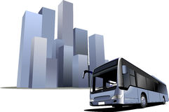 City bus on the town background Stock Photo